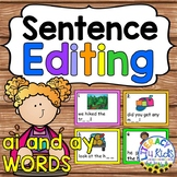 Sentence Editing Task Cards (ai and ay Words) for First an