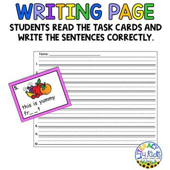 Sentence Editing Task Cards (ew, oo, ou, ue, ui Words) for 1st and 2nd Graders