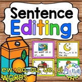 Sentence Editing Task Cards (ew, oo, ou, ue, ui Words) for