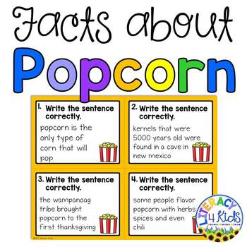 Sentence Editing Task Cards for Third - Fifth Graders (Popcorn Facts)