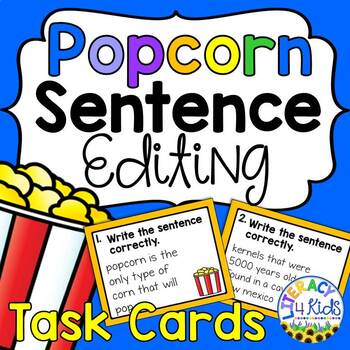 Sentence Editing Task Cards: Facts about Popcorn