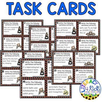 Sentence Editing Task Cards for Third Graders (Bat Fact Themed)
