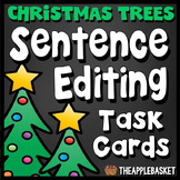 Sentence Editing Task Cards for Third Graders (Christmas Tree Themed)