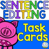 Sentence Editing Task Cards for Third Graders (Facts about Pigs)
