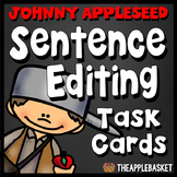 Sentence Editing Task Cards for Third Graders (Johnny Appleseed Themed)
