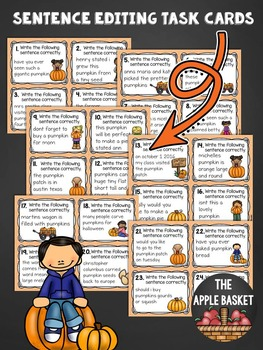 Sentence Editing Task Cards for Third Graders (Pumpkin Patch Themed)