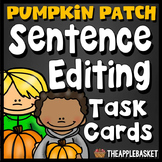 Sentence Editing Task Cards for Third Graders (Pumpkin Pat