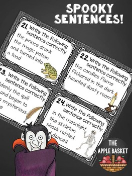 Sentence Editing Task Cards for Third Graders (Spooky Sentences Themed)