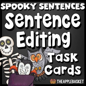 Sentence Editing Task Cards for Third Graders (Spooky Sent