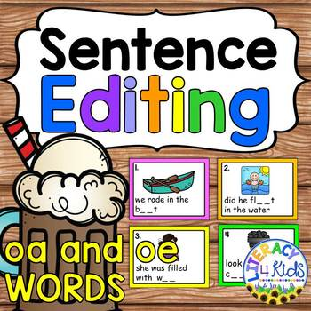 Sentence Editing Task Cards (oa and oe Words) for First and Second Graders