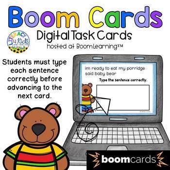Sentence Editing: The Three Bears Boom Cards (Digital Task Cards)