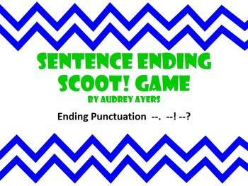 Sentence Ending Punctuation Scoot -Question Mark, Period, Exclamation Point