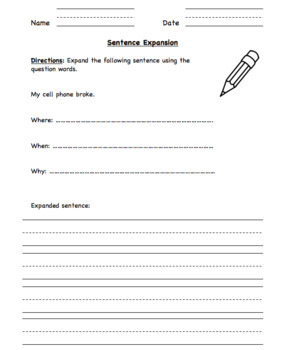 Sentence Expansion (Hochman Method Aligned Resource for Elementary School)