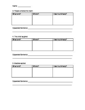 Sentence Expansion Worksheet