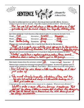 Sentence Explosion!  AP Diction & Syntax Analysis