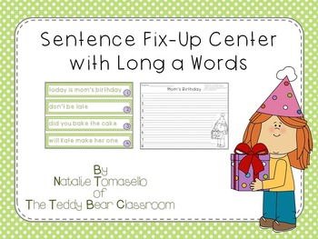 Sentence Fix-Up Center With Long a Words