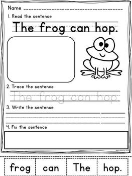 sentence fixers kindergarten pre primer sight word sentence worksheets. Black Bedroom Furniture Sets. Home Design Ideas