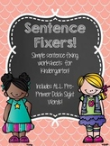 Sentence Fixers - Kindergarten Pre-Primer Sight Word Sentence Worksheets!