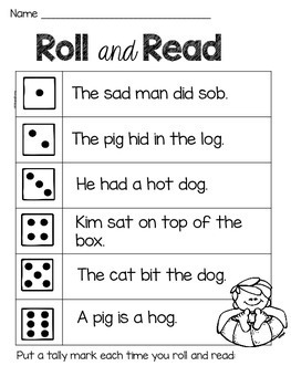 CVC and Sight Word Sentence Fluency Dice Game