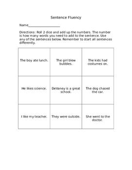 Sentence Fluency Dice Game