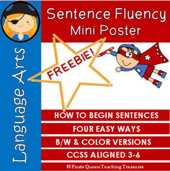 Sentence Fluency: How To Begin Sentences MINI POSTER/Grades 3-6