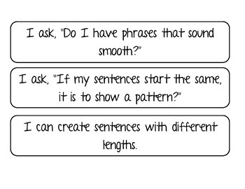 Sentence Fluency I CAN Statements