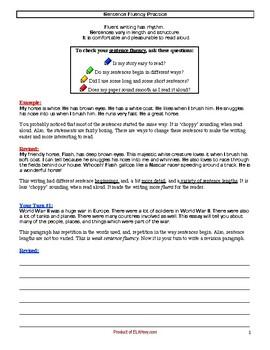 Sentence Fluency Practice Worksheet, Great for the sub folder or mini-lesson