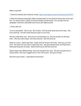 Sentence Fluency Resource, Revising Paragraphs