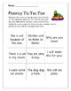 Sentence Fluency Tic Tac Toe