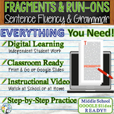 SENTENCE FRAGMENTS & RUN ON SENTENCES - Writing Fluency & Grammar  Middle School