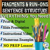 SENTENCE FRAGMENTS & RUN ON SENTENCES - Writing Fluency & Grammar  Middle School