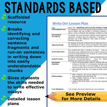 SENTENCE FRAGMENTS & RUN ON SENTENCES - Writing Fluency & Grammar - High School