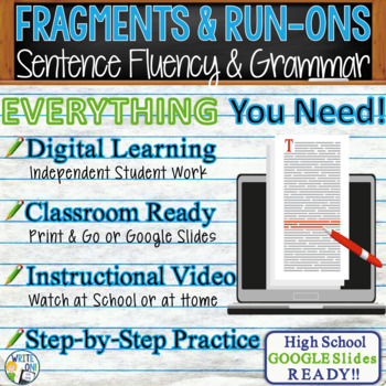 SENTENCE FRAGMENTS & RUN ON SENTENCES - Writing Fluency & Grammar - High School