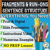 Sentence Fragments Run On Sentences   Writing, Parts of Speech   Print & Digital