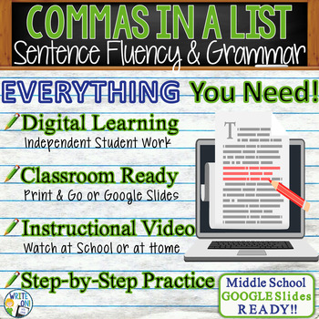 COMMAS IN A SERIES - Sentence Fluency and Grammar in Writi