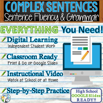 COMPLEX SENTENCES - Sentence Fluency and Grammar in Writing - High School