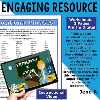 PREPOSITIONS / PREPOSITIONAL PHRASES - Sentence Fluency & Grammar in Writing  HS