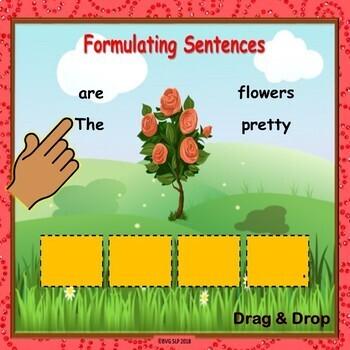 BOOM CARDS Sentence Formulation Unscrambling Sentences - Teletherapy