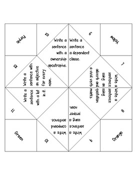 Sentence maker fortune teller by elle montemayor tpt sentence maker fortune teller ccuart Image collections