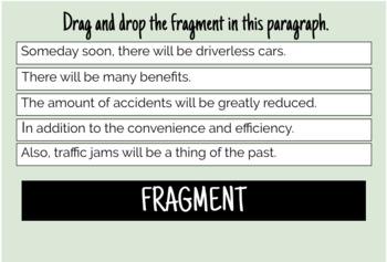 Sentence Fragment - Boom Cards