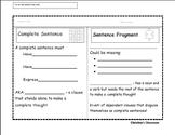 Sentence Fragment Foldable