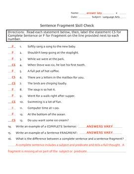 Sentence Fragment Skill Check