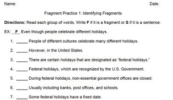 Sentence Fragment Worksheets & PowerPoint for Middle or High School