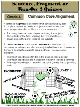 Sentence, Fragment, or Run-on: 2 Quizzes - Common Core
