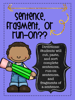 Sentence, Fragment, or Run-on Sort Activity