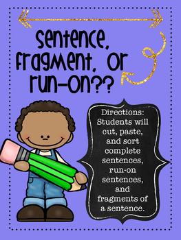 Sentence, Fragment, or Run-on Sort Activity
