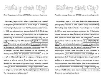 Sentence Fragments — Mastery Check