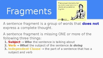 Sentence Fragments PowerPoint