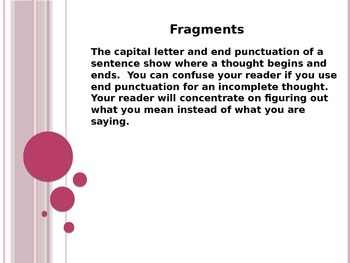 Sentence Fragments PowerPoint to accompany Houghton Mifflin English 8