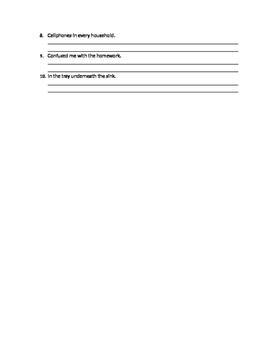 Sentence Fragments Worksheet